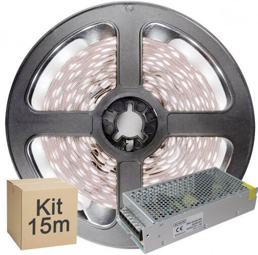 Kit Fita LED 5050 15 metros 3x5mt IP20 Branco Frio Fonte Chaveada 15A
