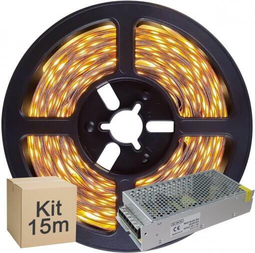 Kit Fita LED 5050 15 metros 3x5mt IP20 Branco Quente Fonte Chaveada 15A