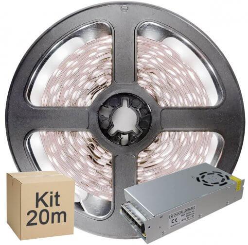 Kit Fita LED 5050 20 metros 4x5mt IP20 Branco Frio Fonte Chaveada 20A