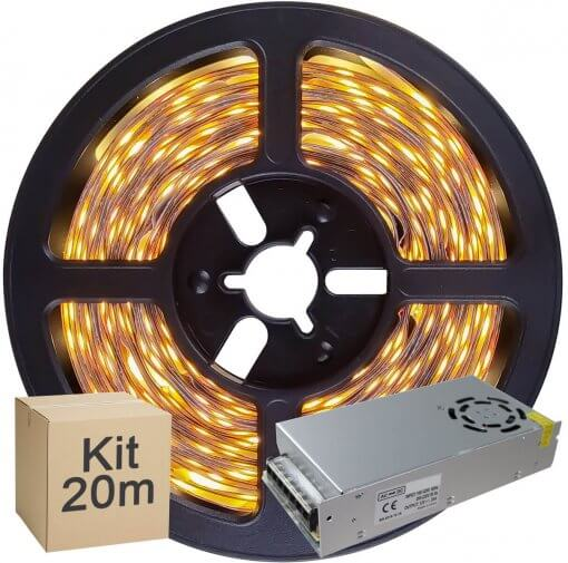 Kit Fita LED 5050 20 metros 4x5mt IP20 Branco Quente Fonte Chaveada 20A