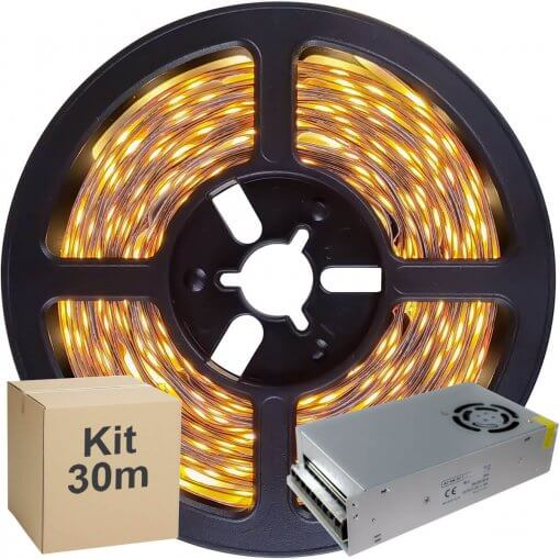 Kit Fita LED 5050 30 metros 5x5mt IP20 Branco Quente Fonte Chaveada 30A