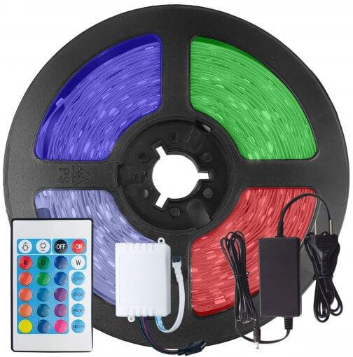 Kit Fita LED 5050 RGB Colorida 300 Leds 5 Metros 12V IP65 + Controle Remoto + Fonte