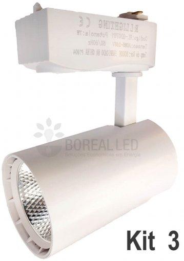 Kit Trilho Eletrificado 1m c/ 3 Spots 7W Branco Branco Quente