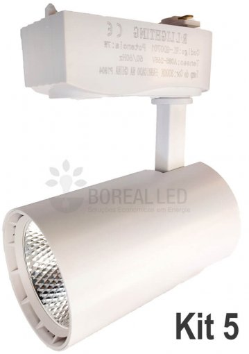 Kit Trilho Eletrificado 2m c/ 5 Spots 7W Branco Branco Quente