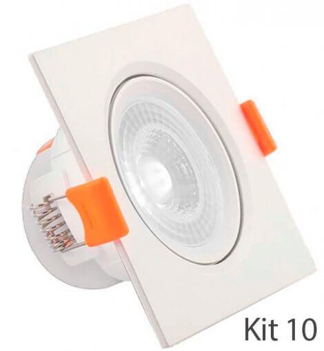 Kit10 Spot Downlight LED 7W Embutir Quadrado Direcionável Luz Fria ROYA