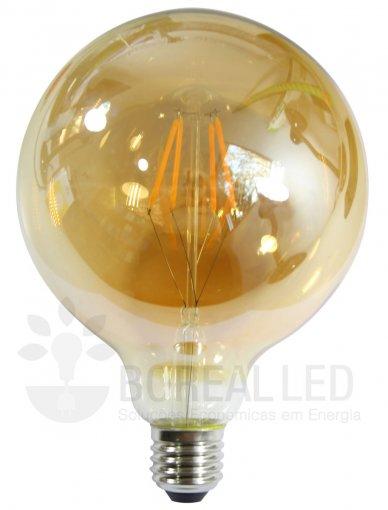 Lâmpada Filamento LED G95 8G 6W E27 Âmbar 2300K Bivolt