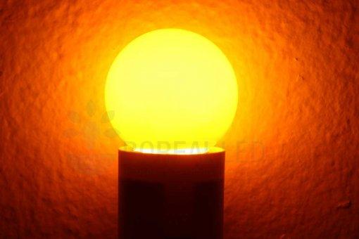 Lâmpada LED Bolinha 1W Laranja Ambar E27 127V