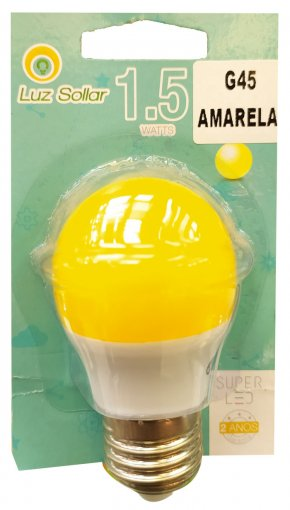 Lâmpada LED Bolinha G45 1.5W Amarela E27 Bivolt Marca Luz Sollar