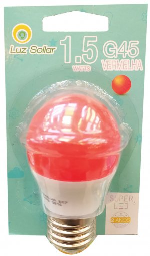Lâmpada LED Bolinha G45 1.5W Vermelha E27 Bivolt Marca Luz Sollar