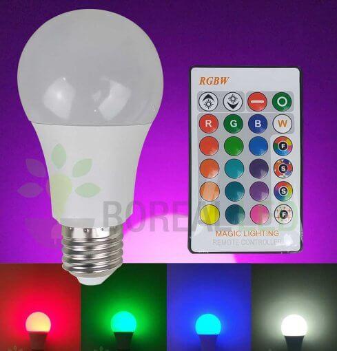 Lâmpada LED Bulbo RGB Colorida E27 5W Controle 16 Cores