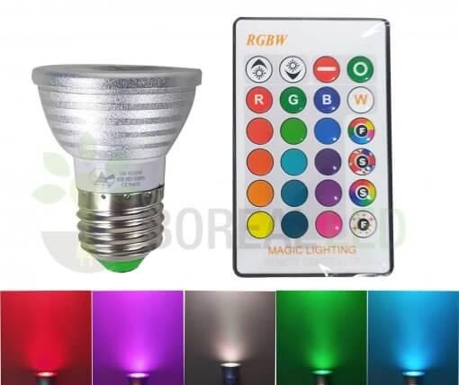 Lâmpada LED Dicroica RGB Colorida E27 5W Controle 16 Cores