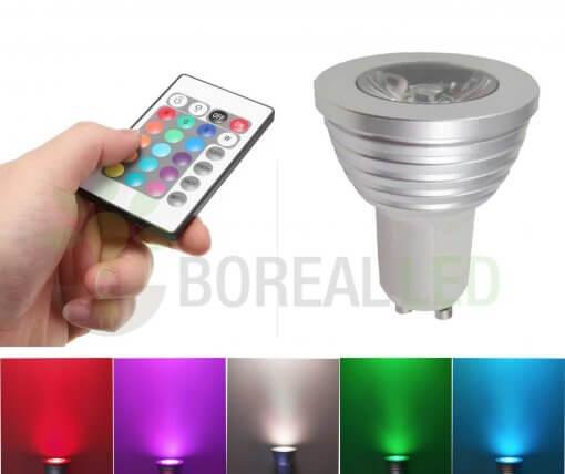 Lâmpada LED Dicroica RGB Colorida MR16 Gu10 3W Controle 16 Cores