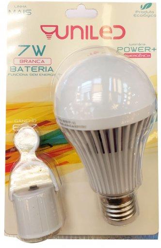 Lâmpada LED Emergência Bateria 7W LED E27 Bivolt Luz Branca 6500K