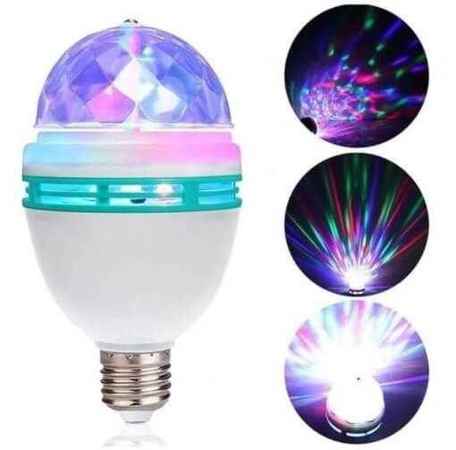 Lâmpada LED Giratória RGB Colorida E27 + Adaptador E27 Tomada