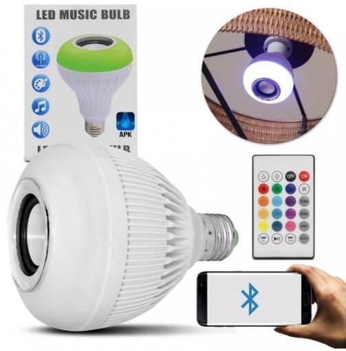 Lâmpada LED RGBW Bluetooth Caixa Som Musical Controle Remoto
