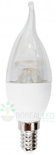Lâmpada LED Vela Chama Cristal Bico Torto 5W Amarela E14