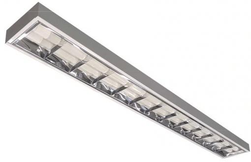 Luminária Comercial Sobrepor Aletada T8 2 Lâmpada Tubular 120cm
