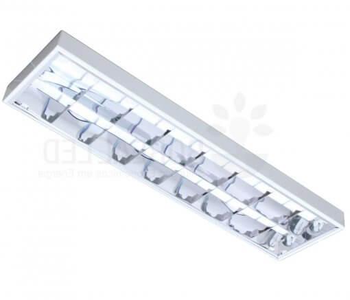 Luminária Comercial Sobrepor Aletada T8 p/ 2 Lâmpada Tubular 60cm