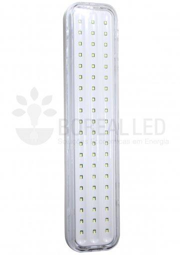 Luminária de Emergência 60 Leds - 6W - com Botão de Teste - Bateria de Litio
