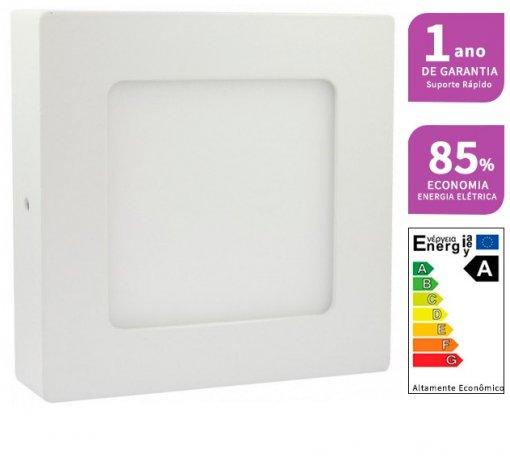 Plafon LED Sobrepor 6W Quadrado 12x12cm Bivolt