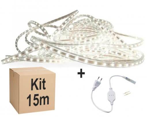 Mangueira Fita LED Chata 5050 15m Branco Frio 6mm 60 LEDS/m 110V