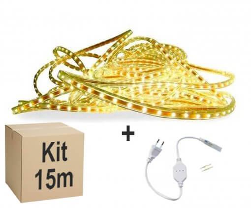 Mangueira Fita LED Chata 5050 15m Branco Quente 6mm 900 LEDS 110V