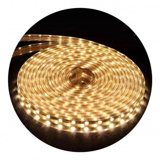 Mangueira Fita LED Chata 5050 15m Branco Quente 6mm 900 LEDS 220V