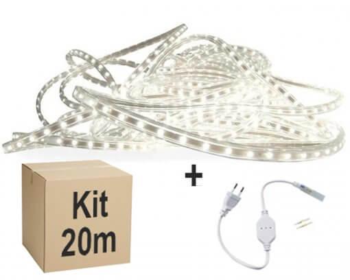 Mangueira Fita LED Chata 5050 20m Branco Frio 6mm 60 LEDS/m 220V