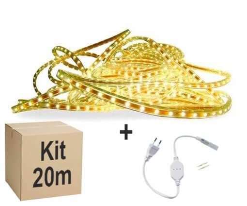 Mangueira Fita LED Chata 5050 20m Branco Quente 6mm 60 LEDS/m 110V