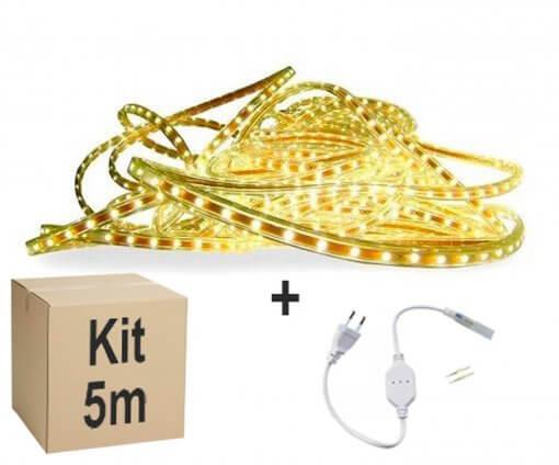 Mangueira Fita LED Chata 5050 5m Branco Quente 6mm 300 LEDS 110V