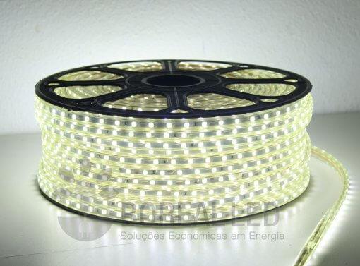 Mangueira LED 5050 Chata 6mm 600 LEDS 100 Metros Branco Frio 110V