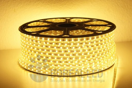 Mangueira LED 5050 Chata 6mm 600 LEDS 100 Metros Branco Quente 220V