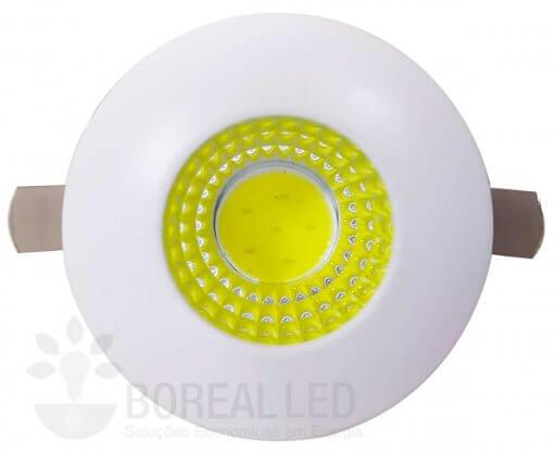 Mini Spot LED COB Embutir 3W Redondo 3,5cm Branco Frio 6000K