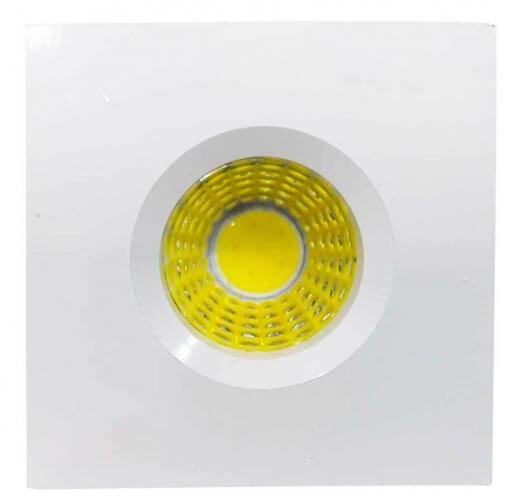 Mini Spot LED Embutir 3W Quadrado 4,5cm Fixo Branco Quente