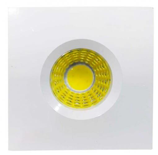Mini Spot LED Embutir 3W Quadrado 4,6x4,6cm Fixo Branco Frio