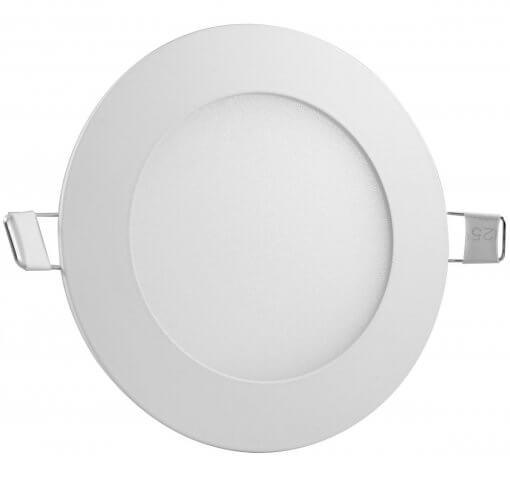 Painel Plafon LED 6W Embutir Redondo 12cm Branco Quente