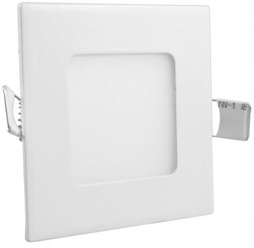 Painel Plafon LED Embutir 3W Quadrado 9X9cm Branco Quente