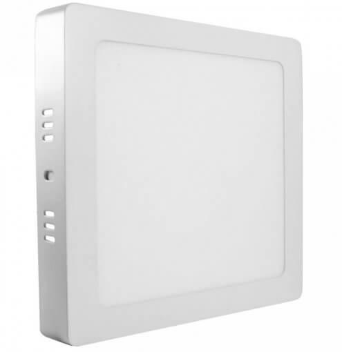 Painel Plafon LED Sobrepor 18W Quadrado 22x22cm Branco Quente