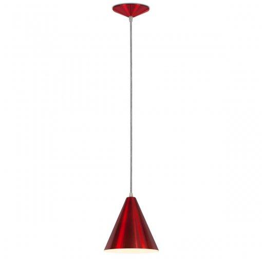 Pendente Cone Alumínio Vermelho Verniz Metalizado Bocal E27 Nacional Iluminação