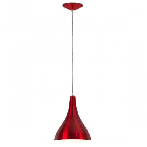 Pendente Pera Alumínio Vermelho Verniz Metalizado Bocal E27 Nacional Iluminação