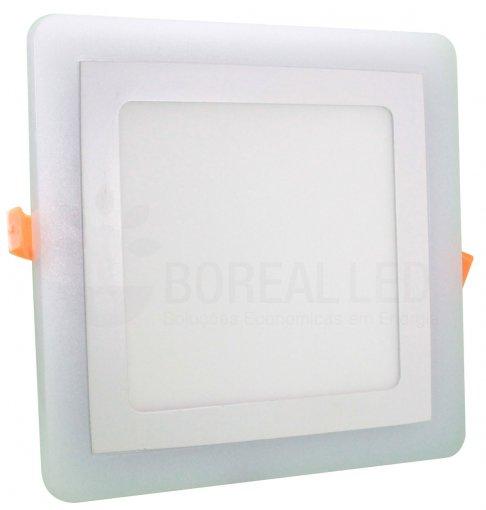 Plafon LED Azul e Branco 2 IN 1 Embutir Quadrado 12W/16W 19X19cm
