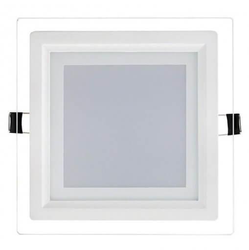 Plafon LED Embutir 12W Quadrado 16x16cm Acabamento Vidro Branco Quente 3K