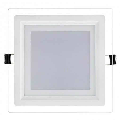 Plafon LED Embutir 18W Quadrado Acabamento Vidro Luz Branco Frio 6K