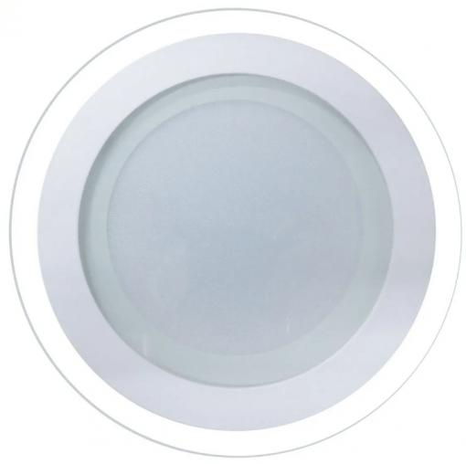 Plafon LED Embutir 18W Redondo 20cm Acabamento Vidro Branco Quente 3K