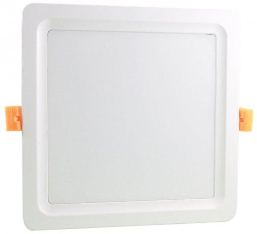 Plafon LED Embutir 24W 3 Cores Selecionáveis Quadrado