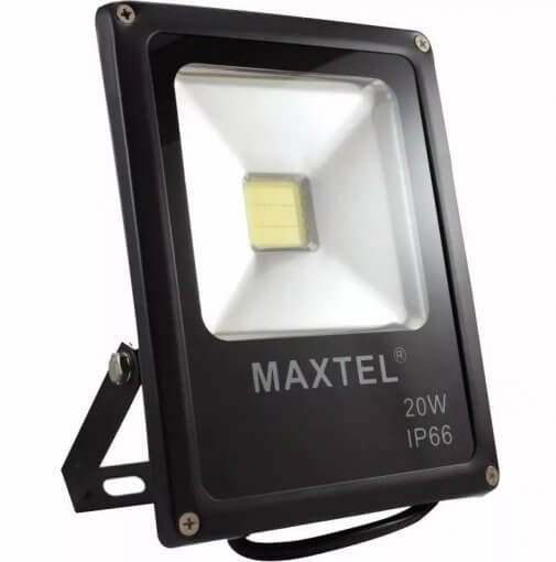 Refletor de LED 20W IP66 Bivolt Carcaça Preta Maxtel