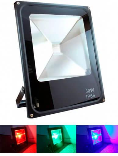 Refletor Holofote LED RGB 50W IP66 com Controle Remoto