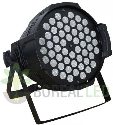 Refletor LED PAR 64 RGBW 54 LEDS 3W Potencia Real DMX Strobo Bivolt
