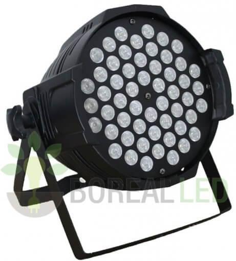 Refletor LED PAR 64 RGBWY 54 LEDS 1W DMX Strobo Bivolt