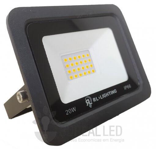 Refletor LED SMD 20W Branco Quente Bivolt IP66 2.000lm Ângulo 120º